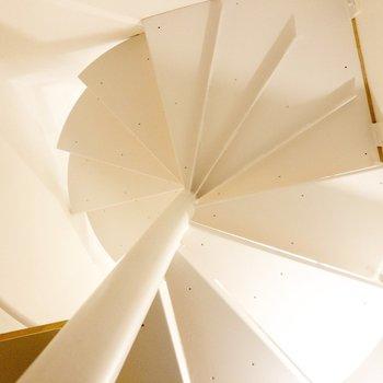 【1F】玄関から見上げた螺旋階段。こちらは白のぐるぐる。