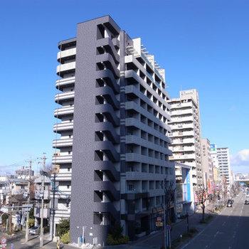 大通り沿いの大きなマンション。