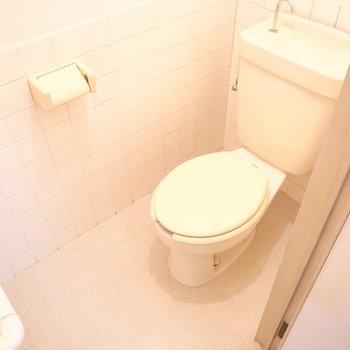 トイレは至極シンプル。インテリアのやりがいがあります。