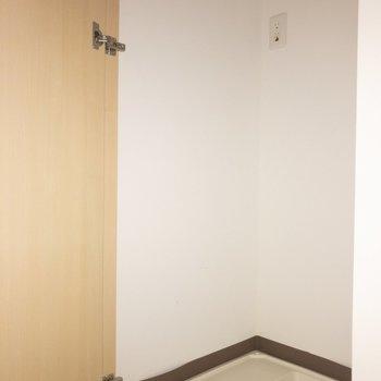 洗濯機は、玄関の横にあります。