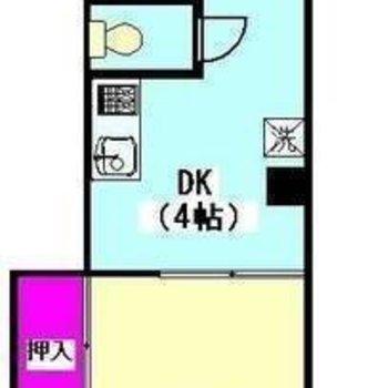 シュッとしたカタチの1DKのお部屋です。