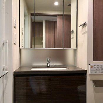 ホテルの洗面台みたい…※写真7階の同間取り別部屋のものです