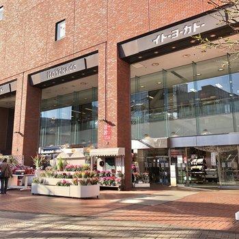 駅前まで行くと、大きな商業施設があります。