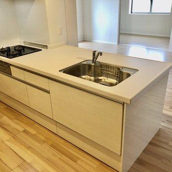 シンクも調理場も広々のシステムキッチン。