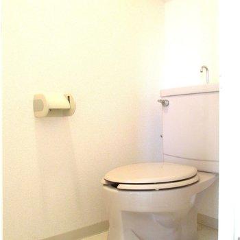 トイレは棚付きです※写真は3階の同間取り別部屋、清掃前のものです