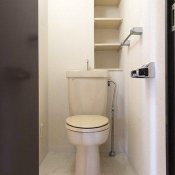 トイレットペーパーを置いたり、フェイクグリーンで飾ったり。※写真は2階の同間取り別部屋のものです