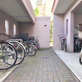 駐輪場はピンク。