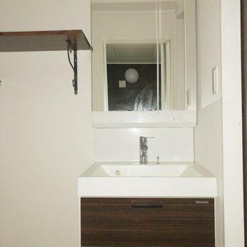 【1階】鏡張りの収納でコンパクトだけど使いやすく