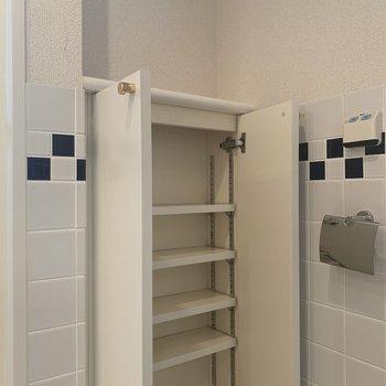 トイレ前に収納スペースがありますよ