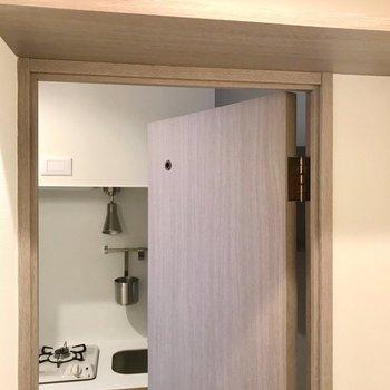 扉の内側には棚が付いてます。便利!