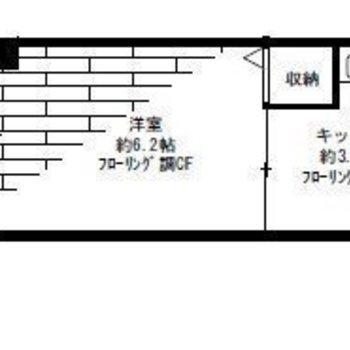 コンパクトな1Kタイプのお部屋。