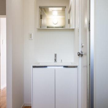 次に水回りを。スタイリッシュな洗面台。※写真は1階の同間取り別部屋のものです