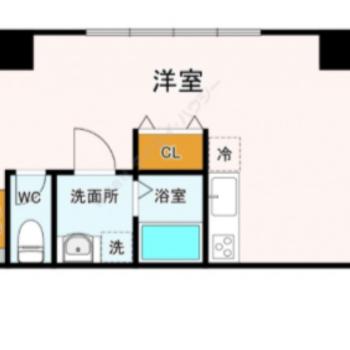 細長い洋室でキッチン周りは広め。