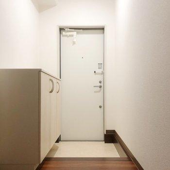 玄関にはホテルみたいな扉が。