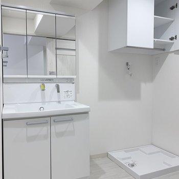 独立洗面台は鏡の面積大きめ◯洗濯機置場の上には収納棚。ポール付きなのが便利です!