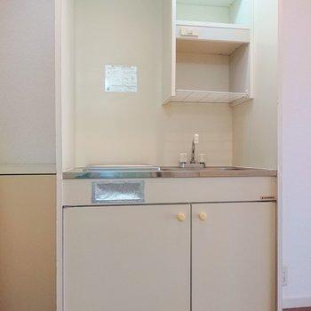 こちらがキッチン。棚に皿などを置けそうですね。