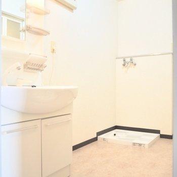 脱衣所は広めです※写真は5階の同間取り別部屋のものです
