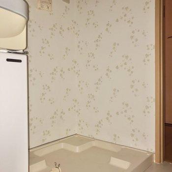 洗濯機置場はその隣にあります※写真は通電前・フラッシュを使用して撮影しています
