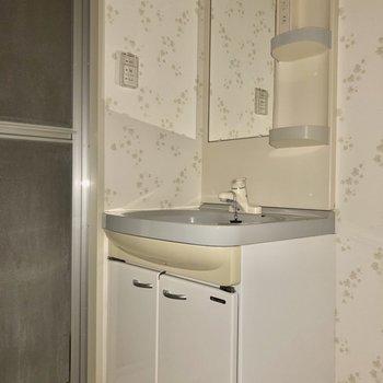 独立洗面台の周りには可愛いクロスが広がっています※写真は通電前・フラッシュを使用して撮影しています