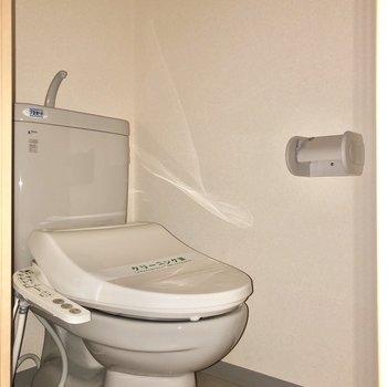 キッチンから廊下に出て左側にトイレがありました※写真は通電前・フラッシュを使用して撮影しています