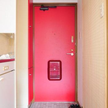 玄関周辺は赤。