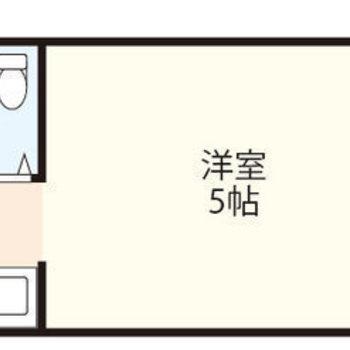 洋室は約5帖のワンルーム。