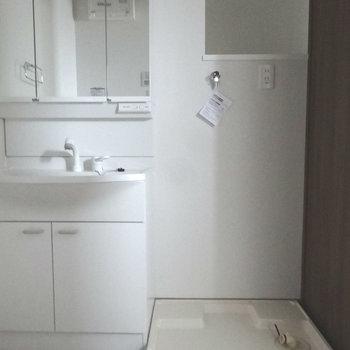 となりに洗濯パン。後ろに棚があるのがうれしい。(※写真は3階の同間取り別部屋のものです)