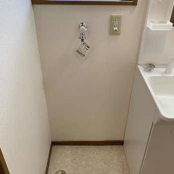 向かいに洗濯機置き場があります。※写真は1階の反転間取り別部屋のものです