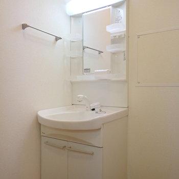 洗面台の隣は収納ボックスが置けそう。※写真は2階の同間取り別部屋のものです