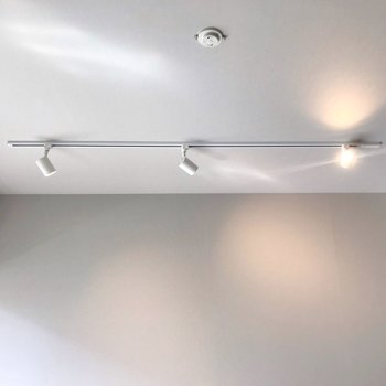 天井にはライティングレール。お洒落に照らしてくれます(※写真は10階の同間取り別部屋のものです)