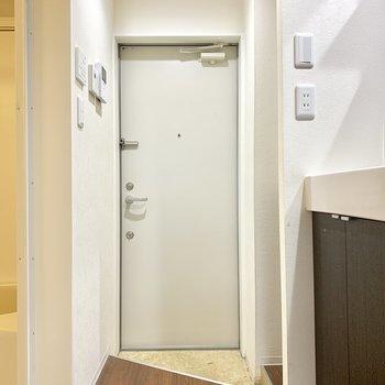 玄関スペースはコンパクト。三角形です。
