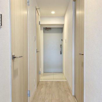 コンパクトだけど清潔感のある玄関です※写真は3階の同間取り別部屋のものです