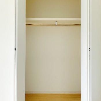 【洋室5.6帖】クローゼットはこれくらい。衣替えでしまっておく服は上部に収納ケースを置くといいかな。(※写真は8階の同間取り別部屋のものです)
