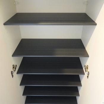 中身は1段に2足ほどのサイズ感の可動棚です。 (※写真は3階の反転間取り別部屋のものです)