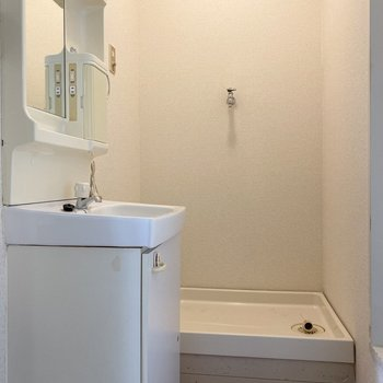 洗面台の奥には洗濯機置場が