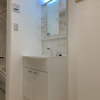 鏡の横に洗顔料や歯ブラシが置けそうです。※写真は前回募集時のものです
