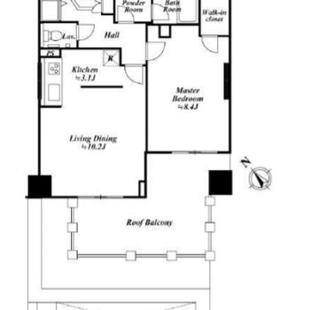 8階にある1LDKのお部屋です