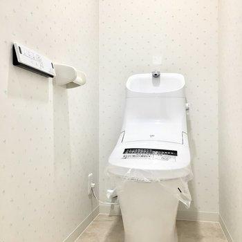 曲線美のトイレはウォシュレット完備。