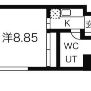 一人暮らしにピッタリなサイズ感1Kのお部屋です。