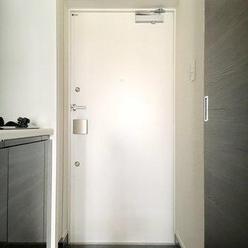 玄関にはシューズボックスがついてます。※写真は7階の同間取り別部屋のものです