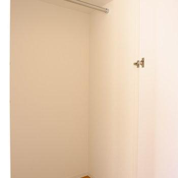 クローゼットはコンパクト。ナチュラルなチェストを用意したい(※写真は8階の同間取り別部屋のものです)