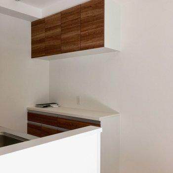 奥には食器もしまえそうな収納棚までありますよ。