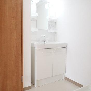 洗濯機は洗面台の向かい。