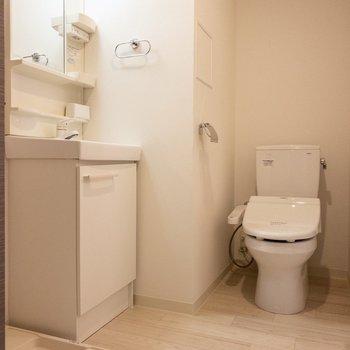 脱衣スペースにはトイレや洗面台などあります。