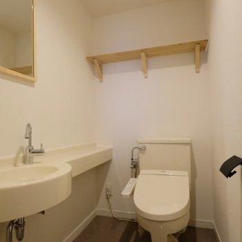 トイレもゆったり。鏡や手洗い場もあるなんて・・・!
