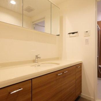 洗面台がこの広さ…!家族で並んで歯磨きできちゃいますよ。