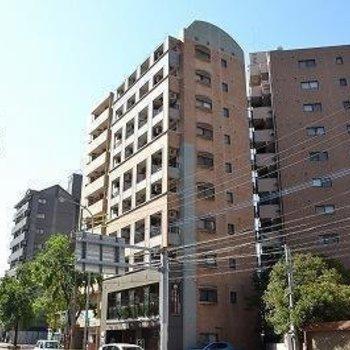 通り沿いの高めのマンションです。