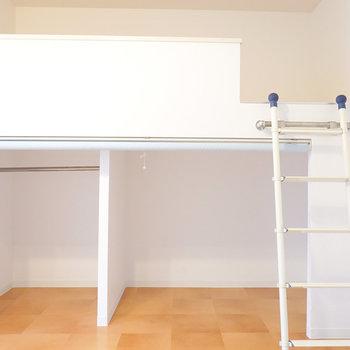 ロフトベッドは下部が収納になっていて効率的。ロールスクリーンで目隠しもできちゃう。