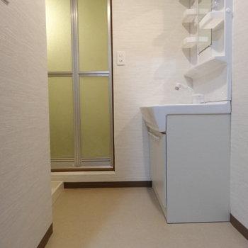 脱衣所も十分スペース。洗濯パンも洗面台も大きめです。