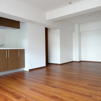 キッチン側も広々!大きめの冷蔵庫や食器棚も置いてもゆったり◎